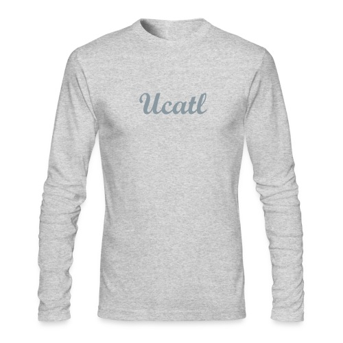 Men's Long Sleeve Tee: Classic Script - Heather Gray - Men's Long Sleeve T-Shirt by Next Level