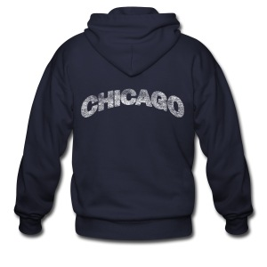 Distressed Chicago Arch - Men's Zip Hoodie