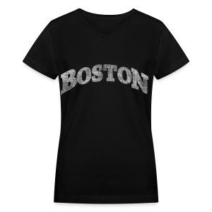 Distressed Boston Arch - Women's V-Neck T-Shirt