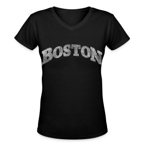 Distressed Boston Arch - Women's V-Neck T-Shirt