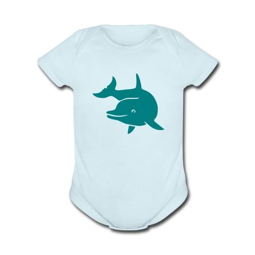 t-shirt porpoise dolphin flipper fin ocean free wild - Organic Short Sleeve Baby Bodysuit