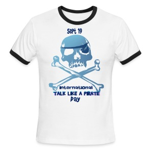Talk Like A Pirate Skull And Crossbones - Men's Ringer T-Shirt