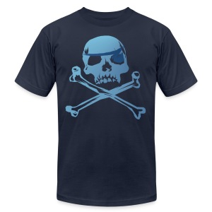 Blue Pirate Skull And Crossbones - Men's T-Shirt by American Apparel
