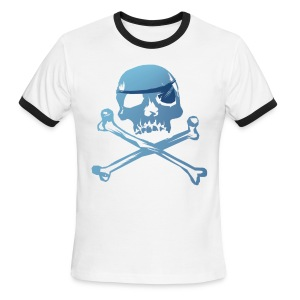 Blue Pirate Skull And Crossbones - Men's Ringer T-Shirt