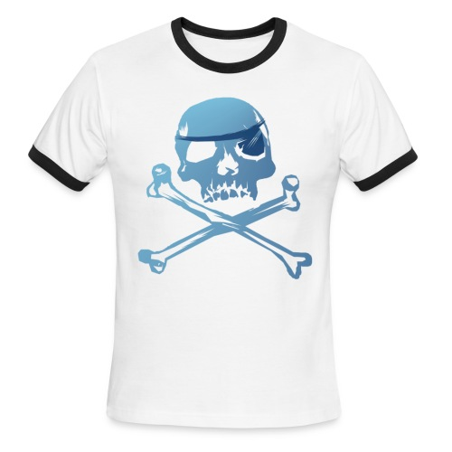 Blue Pirate Skull And Crossbones - Men's Ringer T-Shirt