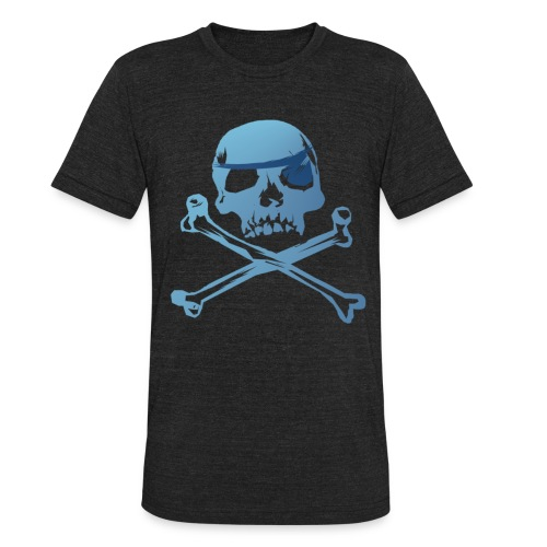 Blue Pirate Skull And Crossbones - Unisex Tri-Blend T-Shirt