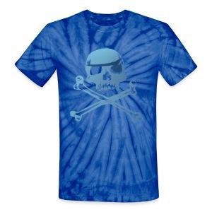 Blue Pirate Skull And Crossbones - Unisex Tie Dye T-Shirt