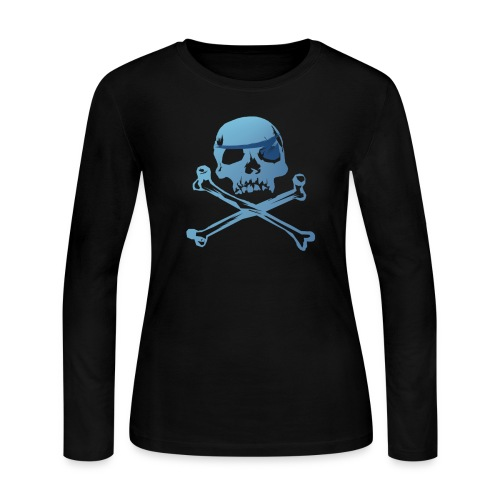 Blue Pirate Skull And Crossbones - Women's Long Sleeve Jersey T-Shirt