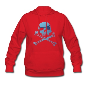 Blue Pirate Skull And Crossbones - Women's Hoodie