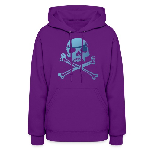 Blue Pirate Skull And Crossbones - Women's Hoodie