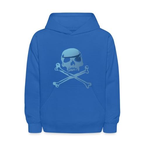 Blue Pirate Skull And Crossbones - Kids' Hoodie