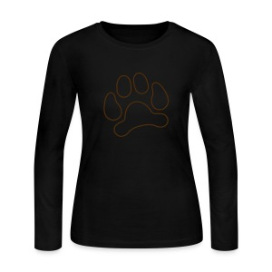 t-shirt lynx cat cougar paw cheetah animal track hunt hunter hunting - Women's Long Sleeve Jersey T-Shirt