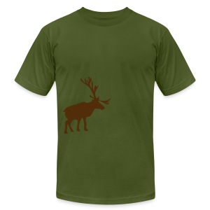 Winter Moose T-Shirt - Olive - Men's T-Shirt by American Apparel