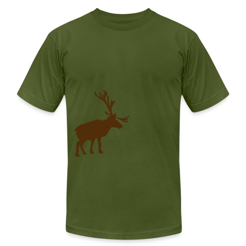 Winter Moose T-Shirt - Olive - Men's Fine Jersey T-Shirt