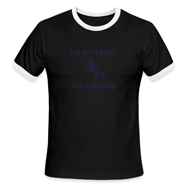 unicorn_tall_dark_blue - Men's Ringer T-Shirt