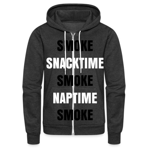SMOKE,SNACKTIME,SMOKE,NAPTIME,SMOKE WITH HOOD DESIGN - Unisex Fleece Zip Hoodie