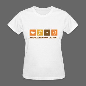 American Runs on Detroit - Women's T-Shirt