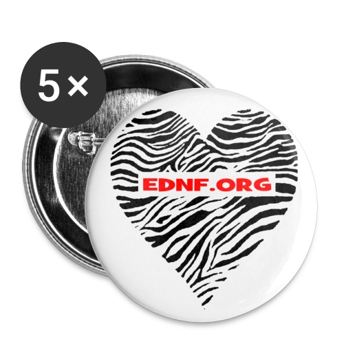 Zebra heart EDNF 1inch buttons - pack of 5 - Small Buttons