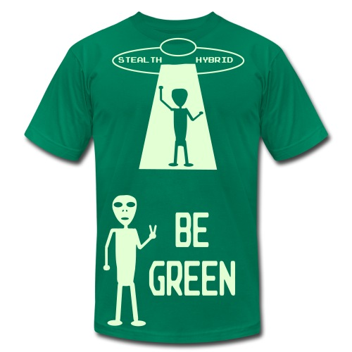 GLOW IN THE DARK - Be Green - Alien Hybrid Spaceship - Come In Peace - Men's Shirt - Men's Fine Jersey T-Shirt