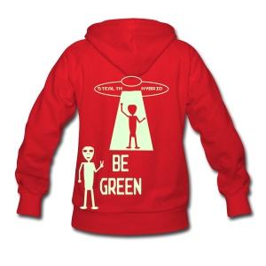 GLOW IN THE DARK - Be Green - Alien Hybrid Spaceship - Come In Peace - Women's Hoodie - Women's Hoodie