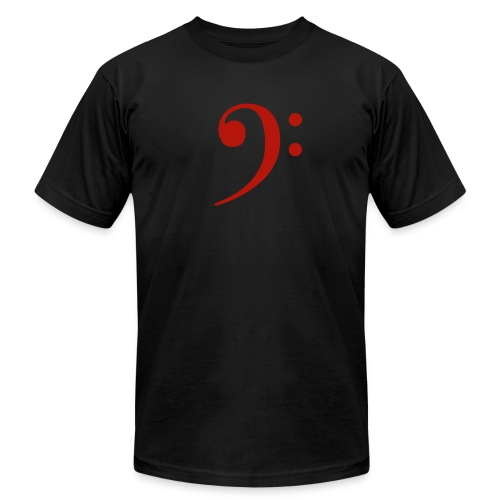 Blk Red Mens Bass Clef - Men's Fine Jersey T-Shirt
