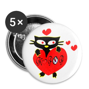 Black cat love kpop hearts vector art large button - Large Buttons