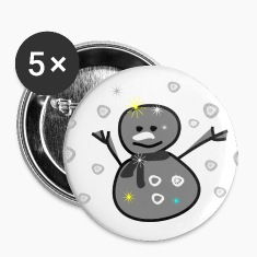 cute smiley snowman vector art large button
