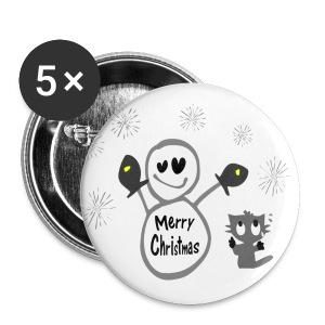 Merry Christmas txt snowman & cat vector art large button - Large Buttons