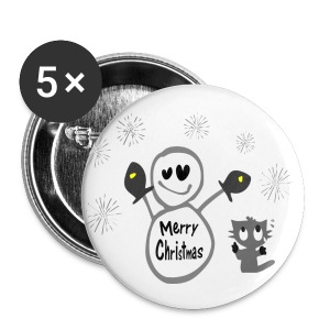 Merry Christmas txt snowman & cat vector art small button - Small Buttons