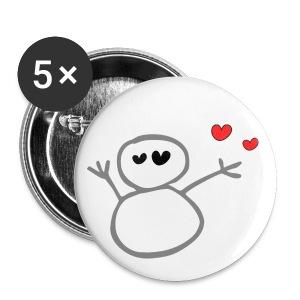 unique cute snowman & hearts vector graphic art small button - Small Buttons