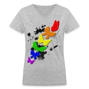 Rainbow Butterflies - Women's V-Neck T-Shirt