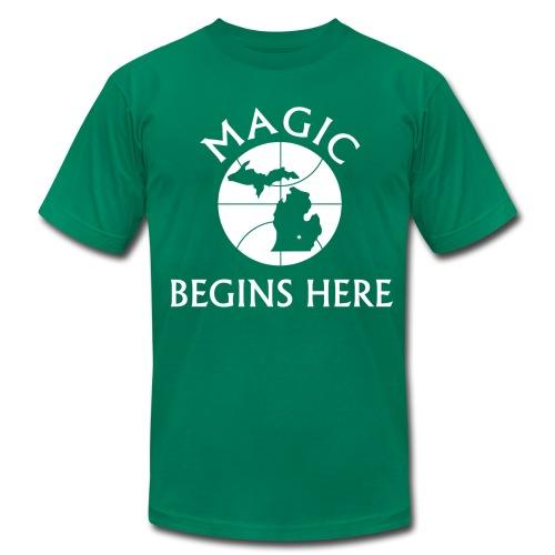 MAGIC BEGINS HERE GREEN - Men's Fine Jersey T-Shirt
