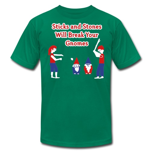 Sticks and Stones Will Break Your Gnomes - Men's T-Shirts - Men's Fine Jersey T-Shirt