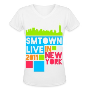 [KOR] SMTown Live New York 2011 (Front Only) - Women's V-Neck T-Shirt