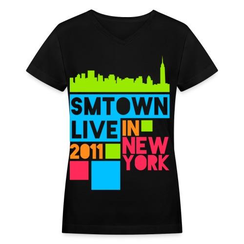 [KOR] SMTown Live New York 2011 (Front Only) - Women's V-Neck T-Shirt