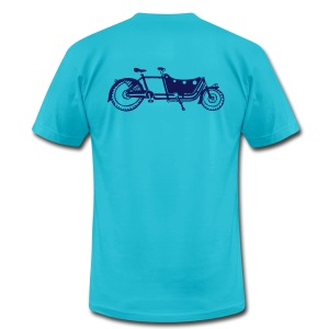 Bicycle Family Cargo Bike Navy Arm - Men's T-Shirt by American Apparel