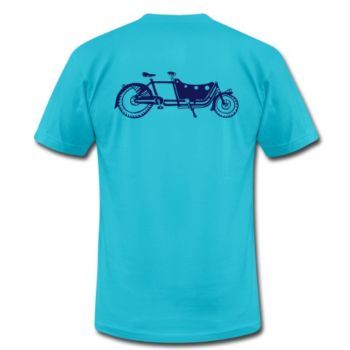 Bicycle Family Cargo Bike Navy Arm - Men's Fine Jersey T-Shirt