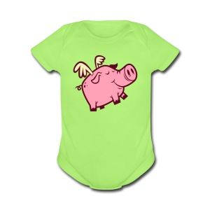 Flying Pig - Short Sleeve Baby Bodysuit