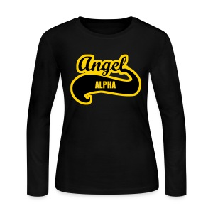 Alpha Angel Outline LS Tee - Women's Long Sleeve Jersey T-Shirt