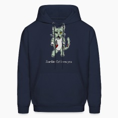 Zombie Cat Loves You Hoodies