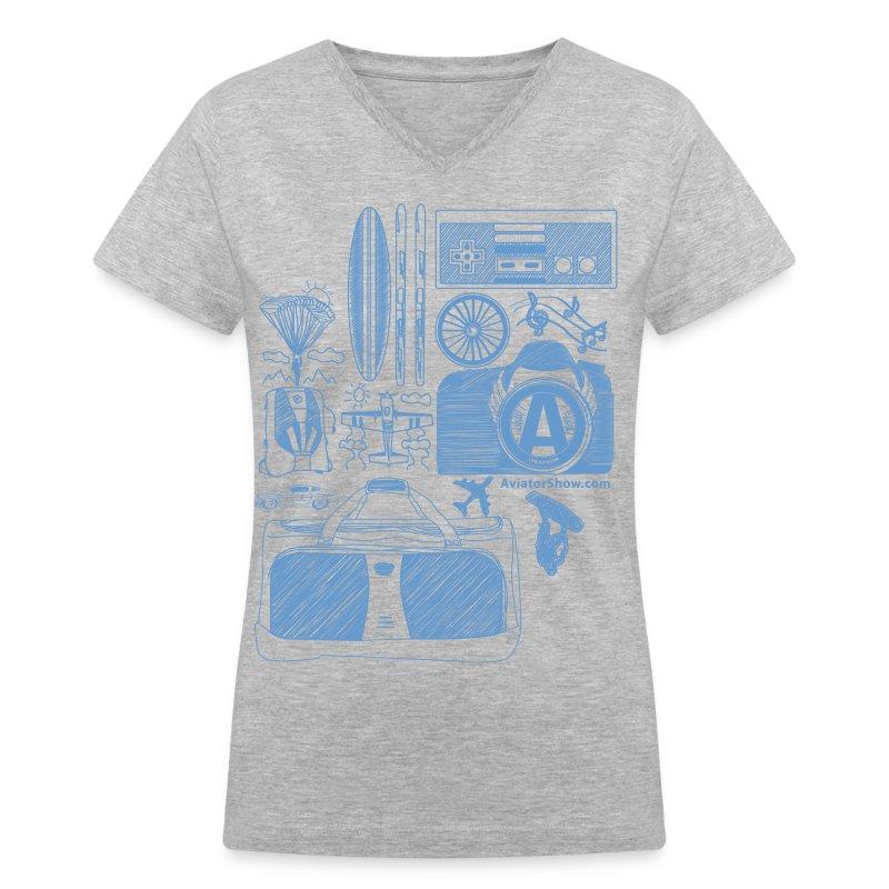 Aviator's World Blue - Women's V-Neck T-Shirt