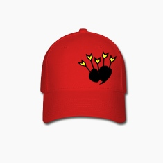 unique flowers heart vector graphic line art Baseball Cap