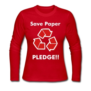 KKI: Save Paper Pledge!! - Women's Long Sleeve Jersey T-Shirt