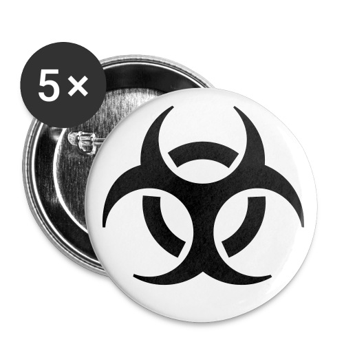 Pack of 5 Bio-Hazard Badges - Large Buttons