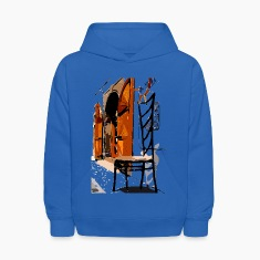 A Chair street view of Europe graphic art Kid's Hooded Sweatshirt