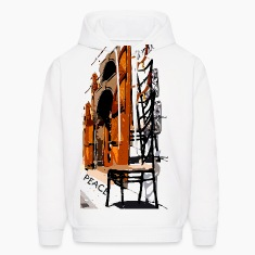 A Chair street view of Europe graphic art Men's Hooded Sweatshirt