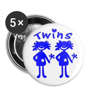 Twins girls vector art Small Buttons - Small Buttons