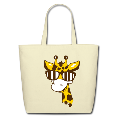 A giraffe with cool sunglasses Bags