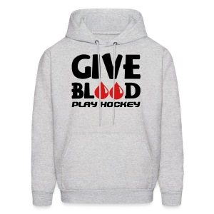 Give Blood Play Hockey Men's Hooded Sweatshirt - Men's Hoodie