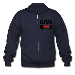 Give Blood Play Hockey Men's Zipper Hoodie - Men's Zip Hoodie